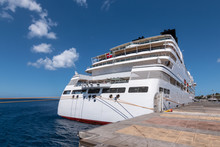 Aft Of A Small Cruise Ship, Docked At The Pier In The Port Of Basse Terre, Guadeloupe