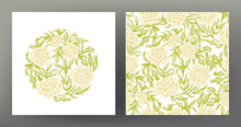 Roses. Set Of Element And Seamless Pattern, Background. Graphic Drawing, Engraving Style. Vector Illustration. In Art Nouveau Style, Vintage, Old, Retro Style