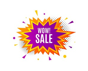 Wow Sale. Banner badge, offer sticker. Special offer price sign. Advertising Discounts symbol. Wow sale banner. Sticker badge. Vector