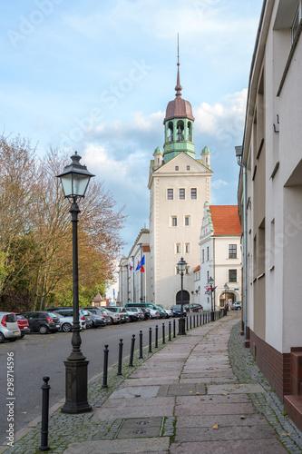 Bell tower of the Ducal Castle in Szczecin, Poland, former seat of the dukes of Pomerania-Stettin, blue sky