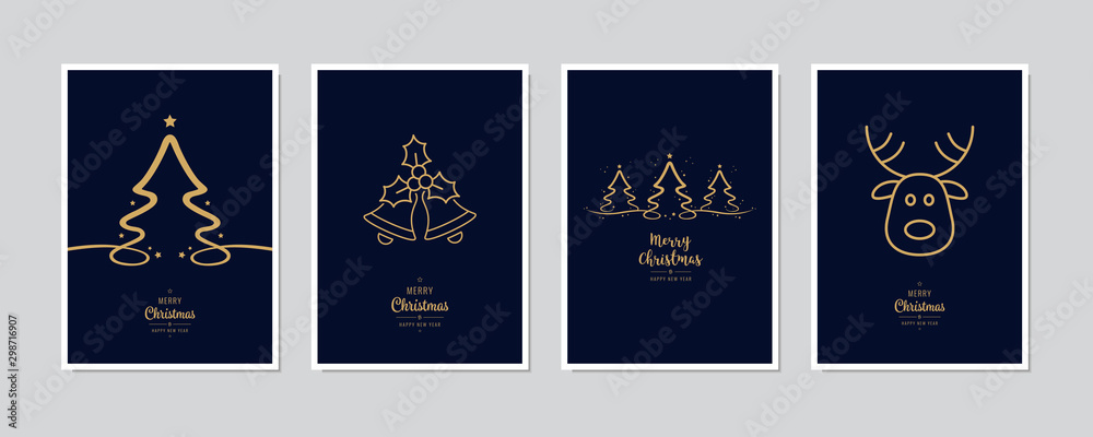 Fototapeta Merry Christmas modern card set elements greeting text lettering blue background vector.