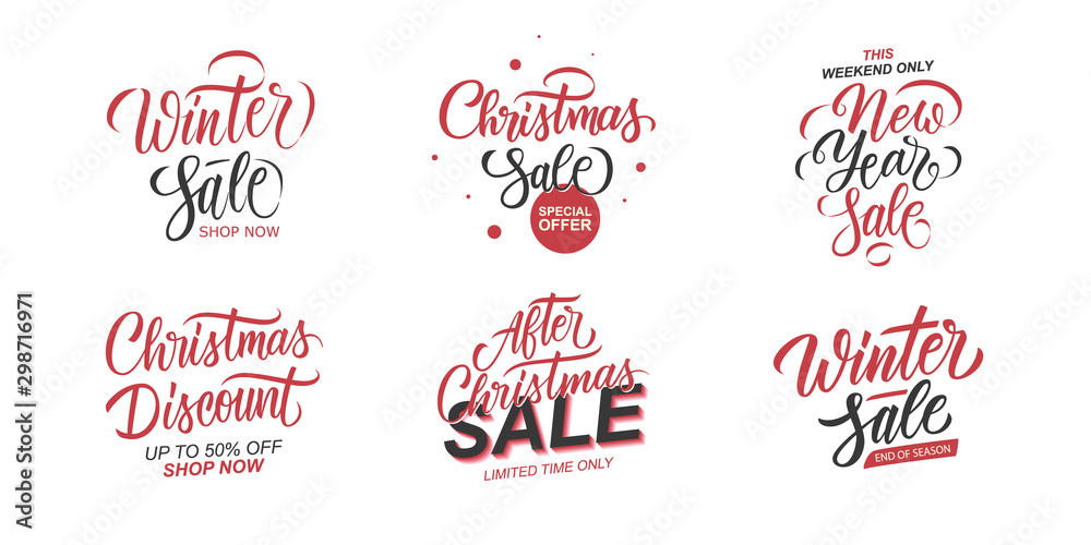 Fototapety, obrazy: Winter Sale and Christmas Sale promotional set. Winter Holidays season special offer templates with hand lettering for business, xmas shopping, discount promotion and advertising. Vector illustration.