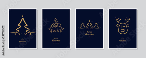 Merry Christmas modern card set elements greeting text lettering blue background vector. - 298716907