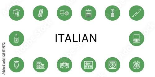 Obraz na płótnie Set of italian icons such as Moka pot, Leaning tower of pisa, Coffee capsule, Ch