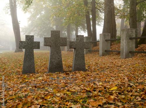Grey granite crosses on a german soldier tomb Canvas Print
