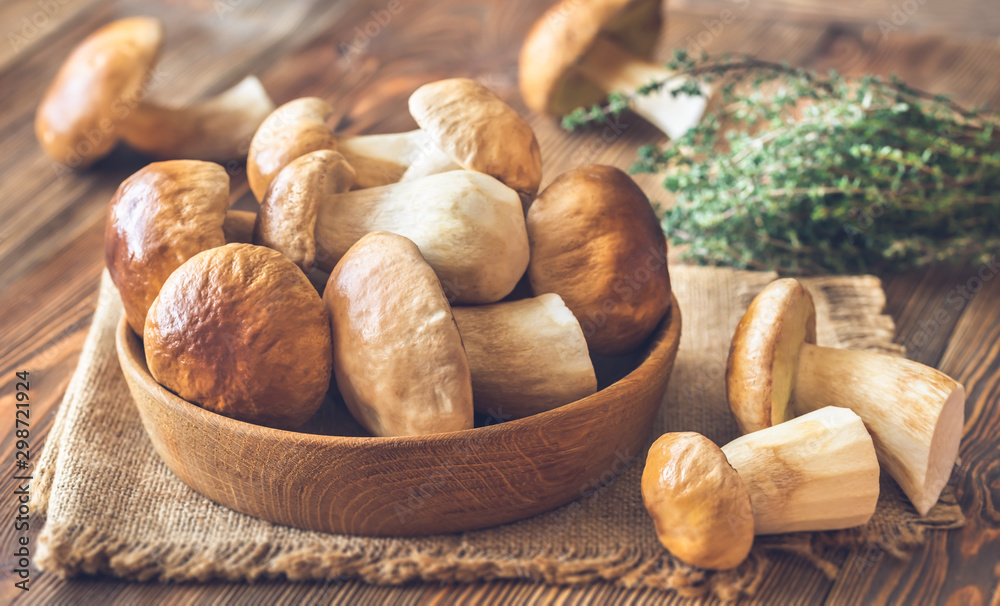 Fototapety, obrazy: Bowl of porcini mushrooms