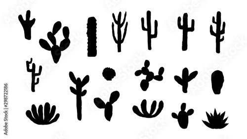 Fotografia Black cactus silhouettes