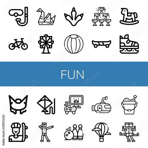 Photo  Set of fun icons such as Diving glasses, Bicycle, Origami, Ferris wheel, Claws,