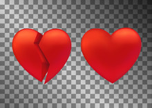 Set Of Heart Icon. Broken And ...