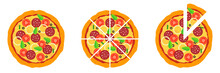 Whole And Chopped Pizza Icon. ...