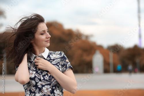 Fototapety, obrazy: Beautiful girl for a walk in autumn