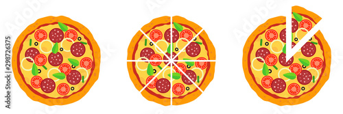 Whole and chopped pizza icon Wallpaper Mural