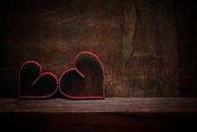 Wood Background Heart Shape Love