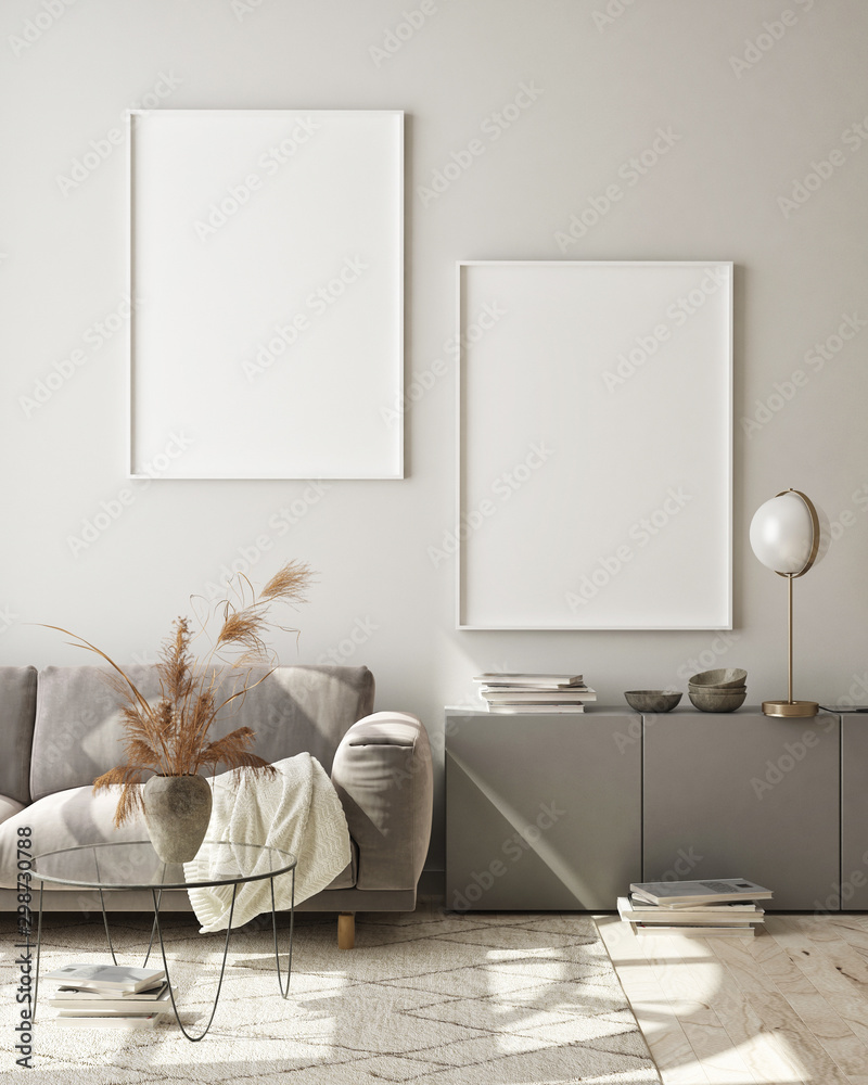 Fototapeta mock up poster frames in modern interior background, living room, Scandinavian style, 3D render, 3D illustration