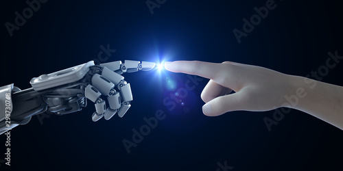 Fotomural  3d rendered medically accurate illustration of a man and robot touching