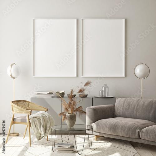 mock up poster frames in modern interior background, living room, Scandinavian style, 3D render, 3D illustration