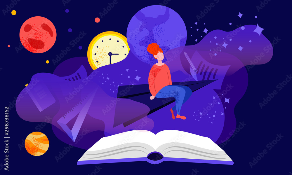 Fototapeta Reading or studying concept with red-headed girl student, sitting and dreaming among stars and planets in the fantasy stylised late night cartoon in dark blue and violet colors over the open book