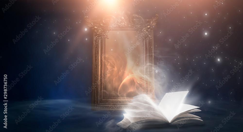Fototapety, obrazy: Open book on a dark background, night landscape, dark forest, dark street. Big magic mirror. Smog, smoke, abstract neon light.