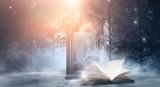 Open book on a dark background, night landscape, dark forest, dark street. Big magic mirror. Smog, smoke, abstract neon light.