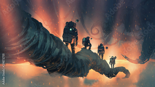 astronauts walking on giant trees in alien planet, digital art style, illustration painting