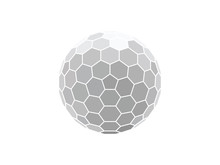 Vector Illustration Of A Honeycomb Hexagon Sphere Isolated On White