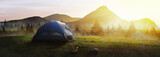 Fototapeta Landscape - Panoramic tent in the mountains