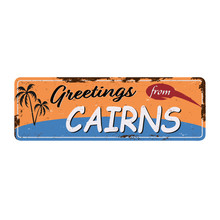 Retro Vector Illustration Cairns Australia. Travel Souvenirs On Old Grunge Damaged Background.