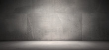 Dark Empty Concrete Wall Room ...