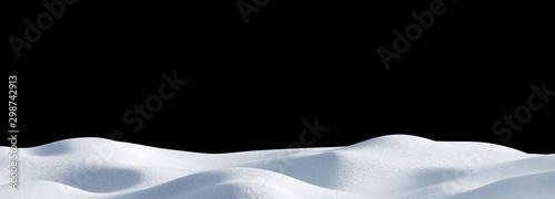 Foto auf Gartenposter Schwarz Isolated snow hills landscape. Winter snowdrift panoramic background.
