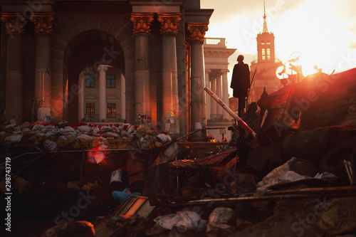 Barricades on the euromaidan in Kiev during the 2014 revolution Canvas Print