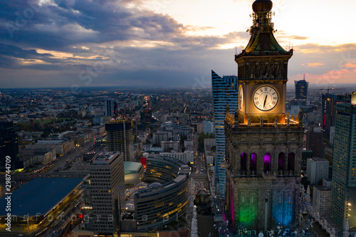 Aerial drone view on Warsaw centre and Warsaw skyscrapers