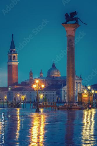 Valokuvatapetti Piazza San Marco at night, view on venetian lion and san giorgio maggiore, Vinic