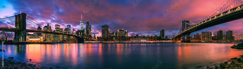 Fototapeta Brooklyn bridge and Manhattan bridge after sunset, New York City