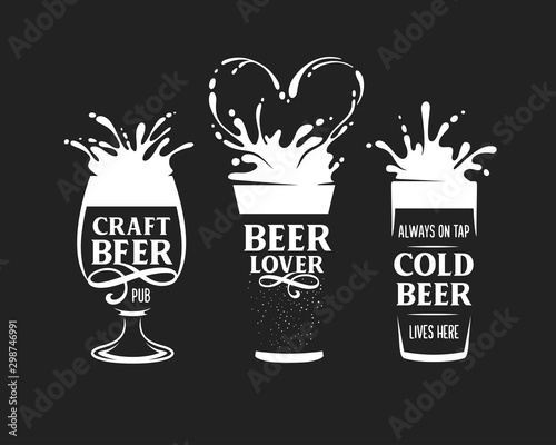 Set of beer related posters. Vector illustration. Poster Mural XXL