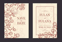 Wedding Invitation Cover Set With Beauty Floral Tulip Flower Abstract Doodle Hand Drawn Style Ornament Decoration Background Mockup Elegant Template Vector Illustration Vintage Frame