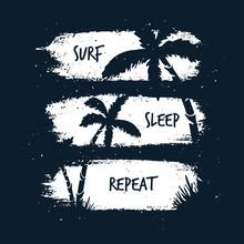 Surfing T-shirt Apparel Design. Vector Illustration.