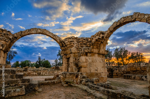 The Byzantine Saranta Kolones, Forty columns castle, ruined archs in a sunset ti Canvas Print