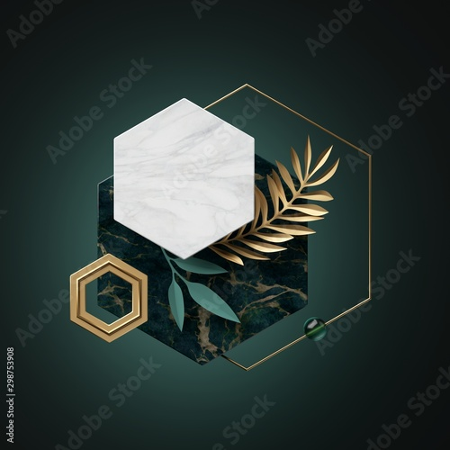 3d abstract modern minimal background with paper palm leaves, black white gold polygonal banner frames isolated on green, marble texture, hexagon, honeycomb, geometric design, blank fashionable mockup Wall mural