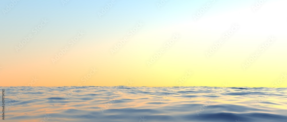 Fototapety, obrazy: Extremely detailed and realistic high resolution 3d illustration of a sunset at the sea