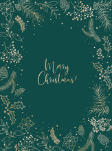 Christmas Illustration With Gold Floral Wreath / Frame On Green Background. Postcard / Greeting Card. Winter Design. Merry Christmas!