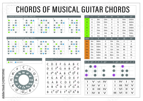 Guitar Scales and Tips Board Poster Canvas-taulu