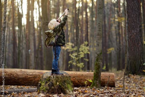 Fototapeta Little boy scout with spyglass during hiking in autumn forest. Child is looking through a spyglass. obraz