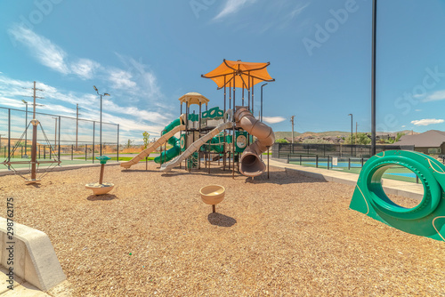 Fotografia, Obraz  Outdoor playground on sunny day with no people