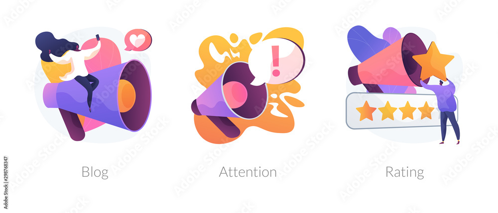 Fototapety, obrazy: Promotion methods icons set. Popular blogger, public announcement, service quality evaluation system. Blog, attention, rating metaphors. Vector isolated concept metaphor illustrations