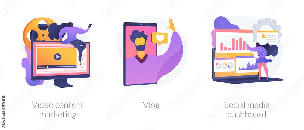 Fototapeta Digital advertising business, online streaming, user statistics analysis icons set. Video content marketing, vlog, social media dashboard metaphors. Vector isolated concept metaphor illustrations