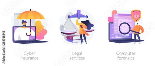 Cuadros en Lienzo Malware protection, lawyer consultation, criminalistic examination icons set