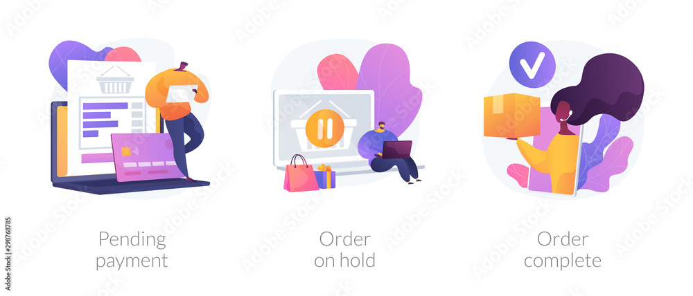 Fototapeta Electronic payment system, internet shopping, commercial business icons set. Pending payment, order on hold, order complete metaphors. Vector isolated concept metaphor illustrations