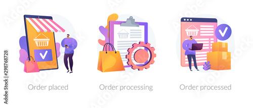 Mobile shopping app, modern online technology, internet customer service icons set Fototapet