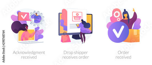 Fototapeta Customer support, express delivery service, transportation business. Acknowledgment received, drop shipper receives order, order received metaphors. Vector isolated concept metaphor illustrations obraz