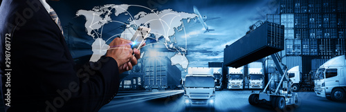 Valokuva  Business Logistics concept, Global business connection technology interface glob